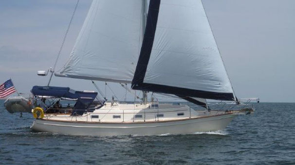 A photograph of the Island Packet 380 sailboat.