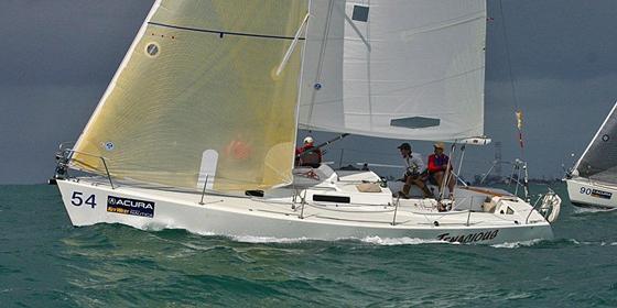 A photo of a JBoats J/105 sailboat.