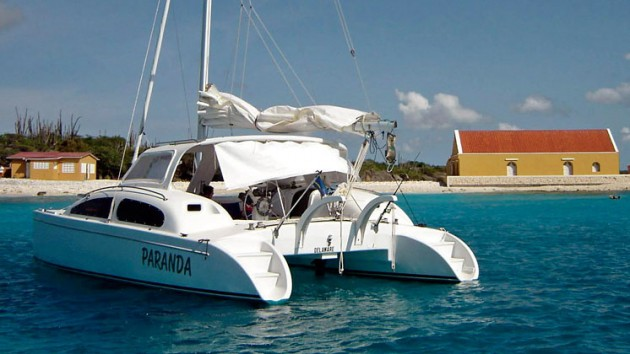 An image of the Maine Cat 30 sailing catamaran.
