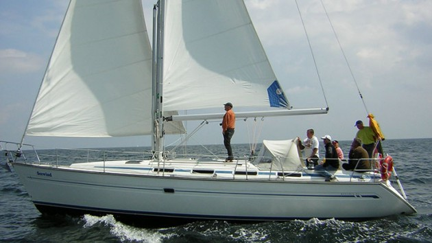 A photo of a Bavaria 42 sailboat.