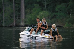 Stable and spacious, the GTI makes a great platform for wakeboarding and waterskiing.
