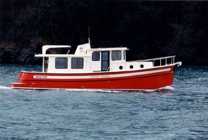 Displacment hulls, such as that of this 37-foot Nordic Tug, never actually come on plane. (Photo courtesy Nordic Tug)