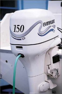 Freshwater flush systems are offered on certain outboards, such as this Evinrude Ficht 150. (Photo courtesy Evinrude)