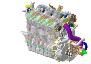 Highlights of the new 4-TEC motor include 12-valve design and an innovative cooling system.