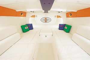 The cabin layout included long facing lounges and a generous berth.