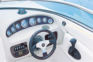 At the helm station, Teleflex gauges were set in an aluminum panel with a simulated woodgrain pattern.