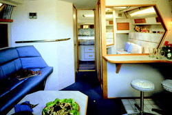 The Sea Ray 390 Express Cruiser's interior has a plush atmosphere and is filled with amenities.