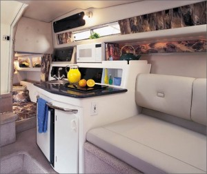 A microwave oven and refrigerator are among the highlights of the galley.