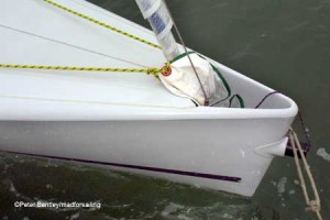 Clean bow profile and neat spinnaker chute