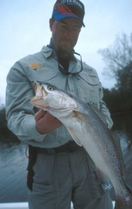 Theophile Bourgeois and a healthy, though hungry, winter trout.