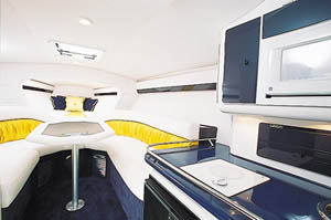 Cabin accommodations included a long V-berth, facing lounges, a full galley and an enclosed head compartment.