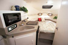 The galley has a microwave oven, a refrigerator, a sink and an alcohol/electric stove.
