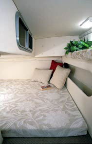 The main cabin features a hanging clothes locker, V-berth/dinette combination.