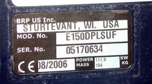The serial number sticker on this BRP-Evinrude outboard also includes the motor's date of manufacture, August, 2006.