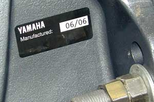 A sticker on a Yamaha outboard indicates it date of manufacture as June, 2006. The photo was taken at a dealership on March 28, 2007.