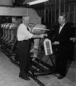 The one-millionth Johnson motor was produced on November 6, 1952. Commemorating the occasion are Clarence Johnson (left) and Joseph G. Rayniak, who was production chief when the first Johnson was built in 1921. (courtesy Write Stuff Syndicate)