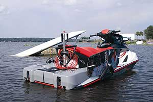 Gray plastic ballast tanks fits over the aft platform of Sea-Doo wake models. When filled with 200 pounds of water, they help increase wake size for enhanced wakeboard action. Board rack and towing pylon are also standard Wake features.