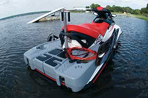 The Sea-Doo Wake is designed specifically for tow sports, with a towing pylon, board racks, hand-holds for a rear-facing observer, and a water ballast tanks that boost wake size.