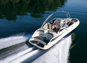 The Yamaha 232 Limited S planes quickly and has a top speed of about 50 mph. Deluxe upholstery and trim and the new arch set this model apart from three other 23-foot boats from Yamaha.