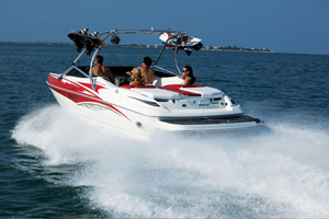 With middle-of-the-road power, a 300-hp MerCruiser 350 MPI small-block with a dual-prop Bravo Three drive, Larson claims 55 mph top speeds.