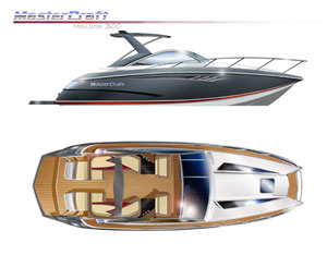 The twin-tip bow shape, a signature of several recent MasterCraft models, forms a broad forward hullshape and on this new model creates more space in the cabin.