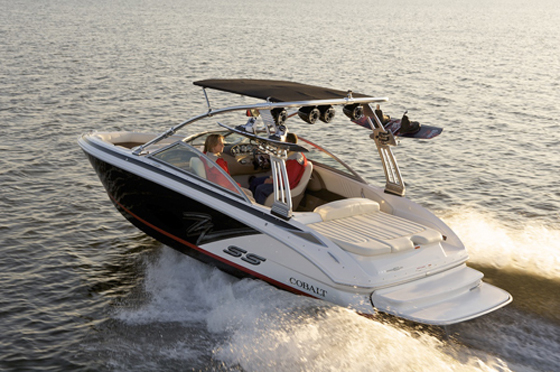 Bolder graphics distinguish this crossover runabout/towboat from Cobalt.