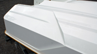 This step in the aft running surface of the GTX 155 hull reduces drag, thus improving efficiency and top speed.
