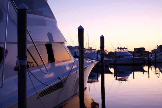 A photo of the shiny topsides on a sportfish boat.