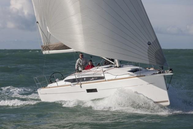A photo of the Jeanneau Sun Odyssey 349 under sail.