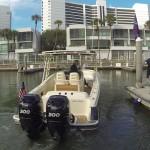 Mercury Verado outboard joystick in action