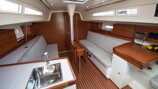 A photo of the interior on the Salona 33.