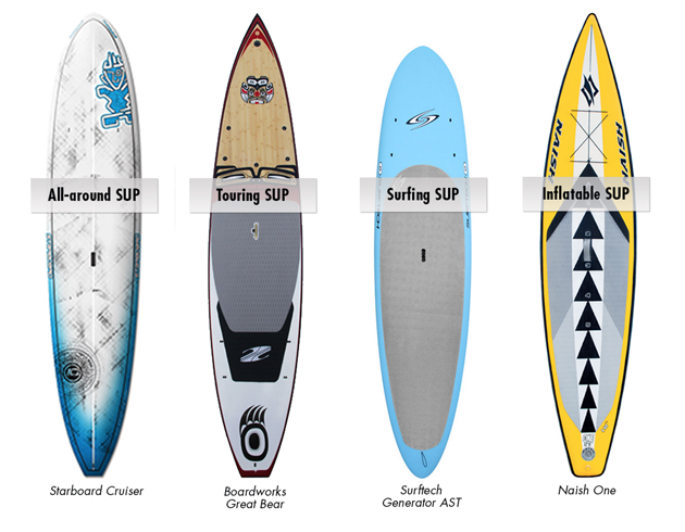These 4 SUPs show the different shapes that have developed for specific uses.