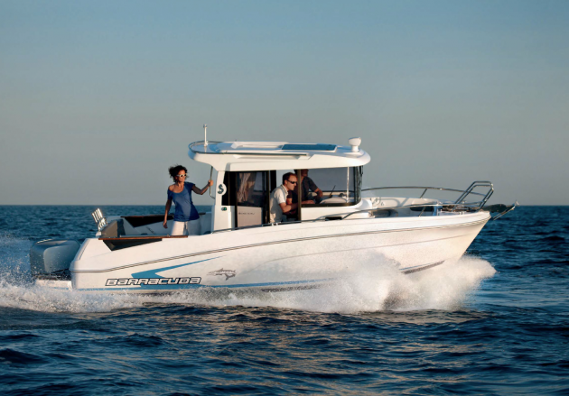 Fishing boats don't get much more unique–and comfortable in snotty weather–than this. Check out the Barracuda 7 from Beneteau Power.