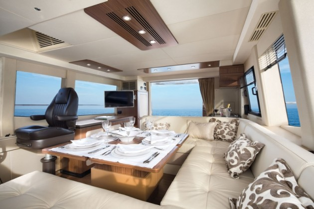The main salon is both luxurious and purposeful, on the Magellano 53.