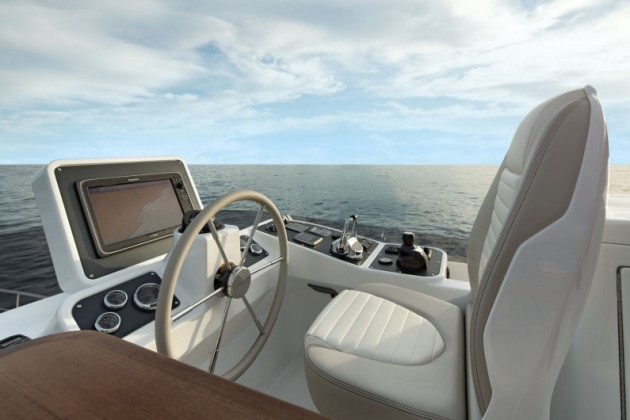 The upper helm on the Magellano 53 is unique, in that it positions many of the instruments and gauges off to the side, for better forward visibility.