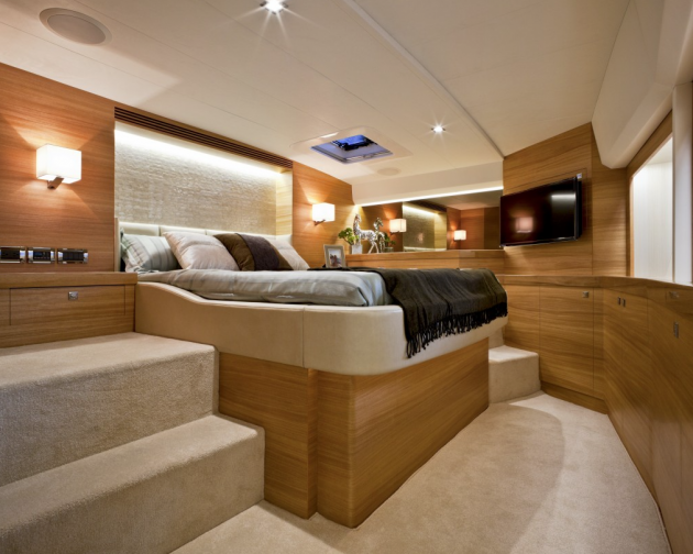 The master stateroom on the PC52 is a refuge away from it all.