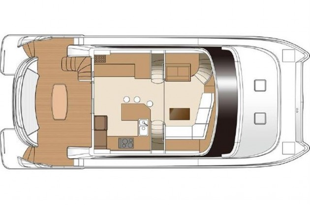 The main deck layout on the PC52 includes a huge, nearly full-width aft cockpit.