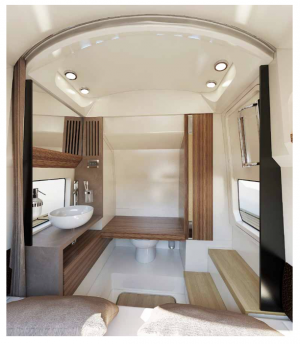An elegant cabin is part of the Chris-Craft Catalina 34's luxury elements.