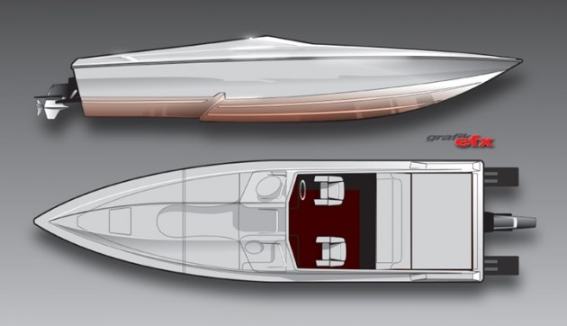Whether ordered with stern-drive power or outboards, the 29 Savage will be Active Thunder's answer to performance center-consoles. Renderings by Chris Dilling/Grafik EFX.