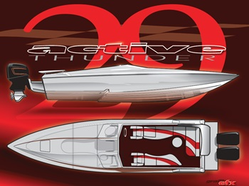Haughey said that in addition to the upcoming 29 Savage, he is considering offering outboard power on larger Active Thunder models.