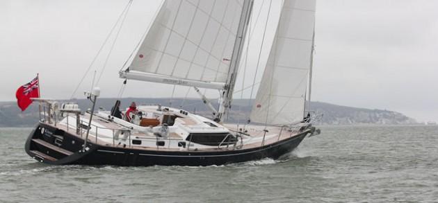 Discovery 55 mk II sailboat underway