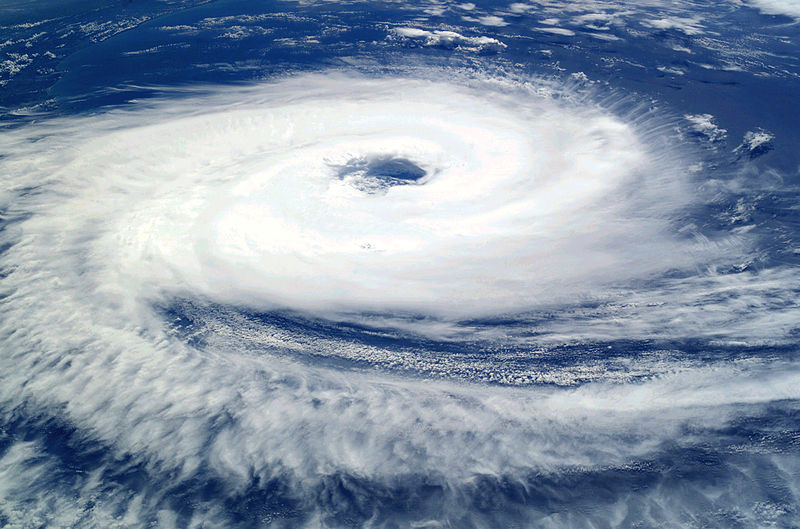 The cyclone Catarina, which made landfall in March 2004 in Brazil, was the first hurricane observed in the South Atlantic. Note the clockwise rotation. Photo courtesy NASA, from the International Space Station