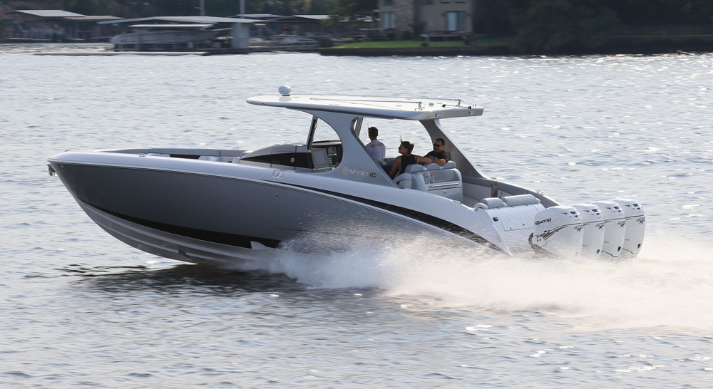 """Mystic placed a premium on luxury in the M4200, but that doesn't mean the builder skimped on performance. Photo by <A HREF=""""https://www.facebook.com/Shoot-2-Thrill-Pix-130528070292399/?fref=ts"""">Pete Boden/Shoot 2 Thrill Pix</a>."""