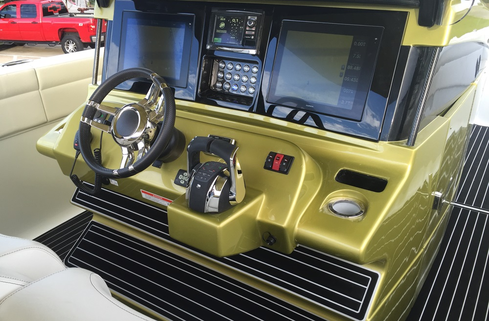 Clean and simple, the luxury center-console's helm station lacks for nothing.