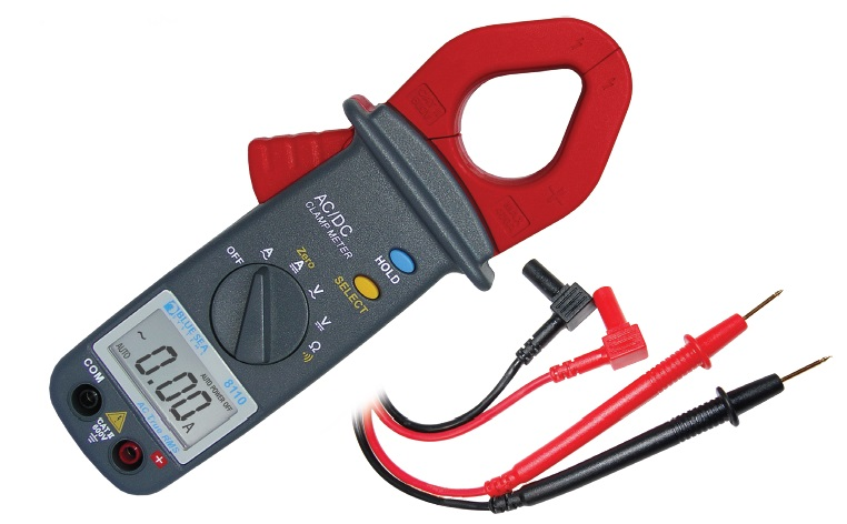 The Blue Sea 8110 is a self-ranging multimeter with a clamp that makes it easy to measure ampere flow in a DC circuit.  Photo courtesy of Blue Sea.