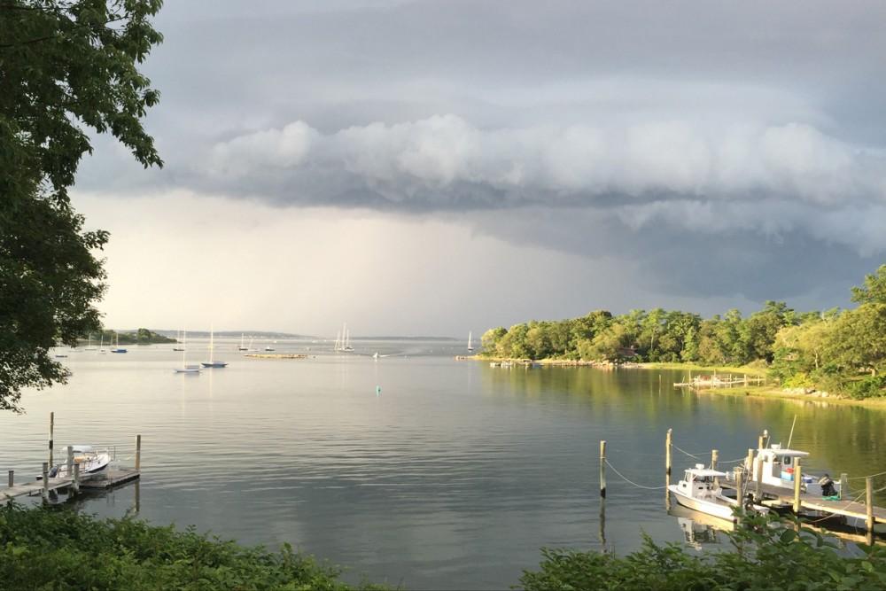 West Harbor Fishers Island NY thunderstorm on its way