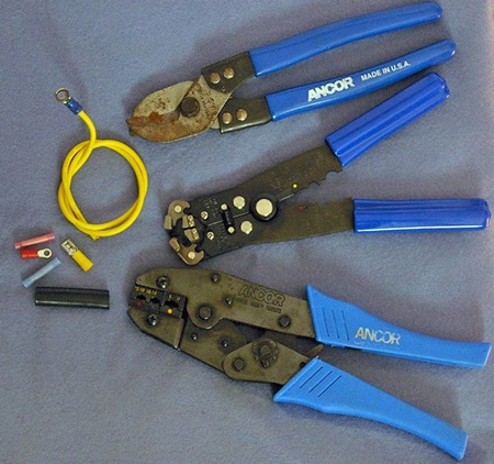 Figure 5. Good-quality tools for stripping wire and crimping connections will make a big difference in the security and longevity  of wire terminals.