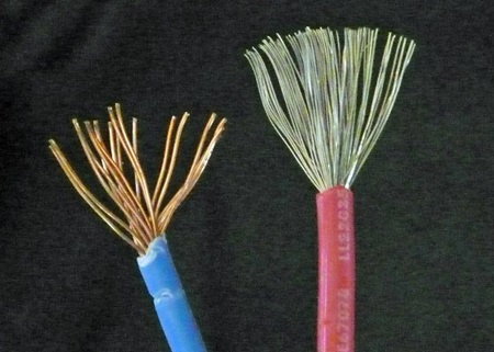 Figure 6. The marine-grade wire on the right has a better supply of copper, and the wire is tinned to prevent corrosion.
