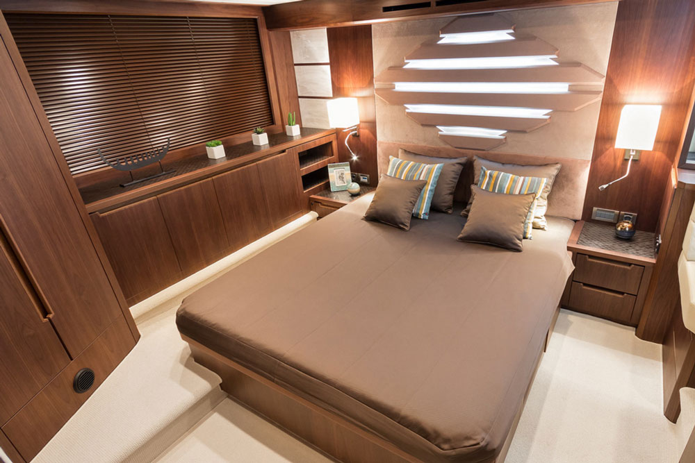 Along with plenty of headroom, the Galeon's master stateroom offers plenty of elbow room thanks to its full-beam design.