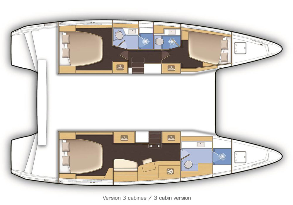 In standard arrangement there are three staterooms with the master to starboard, but there's also a charter arrangement available with two cabins and two heads in each hull.